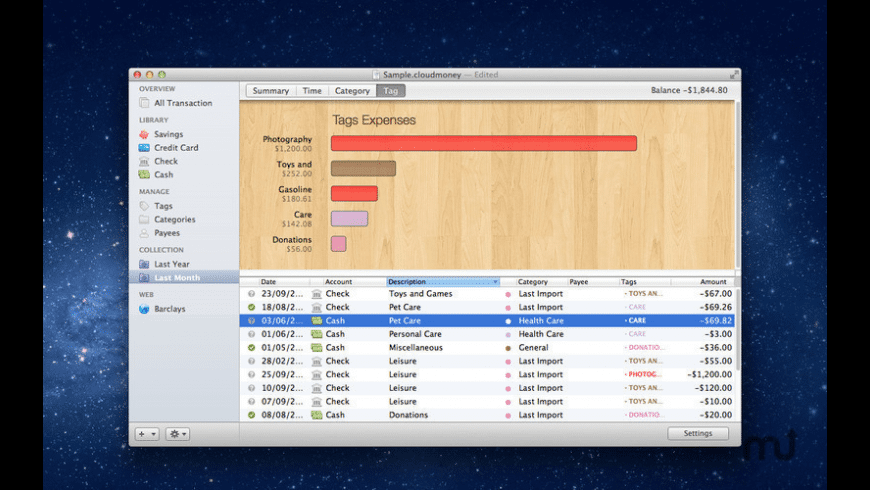 Cloud Money for Mac - review, screenshots