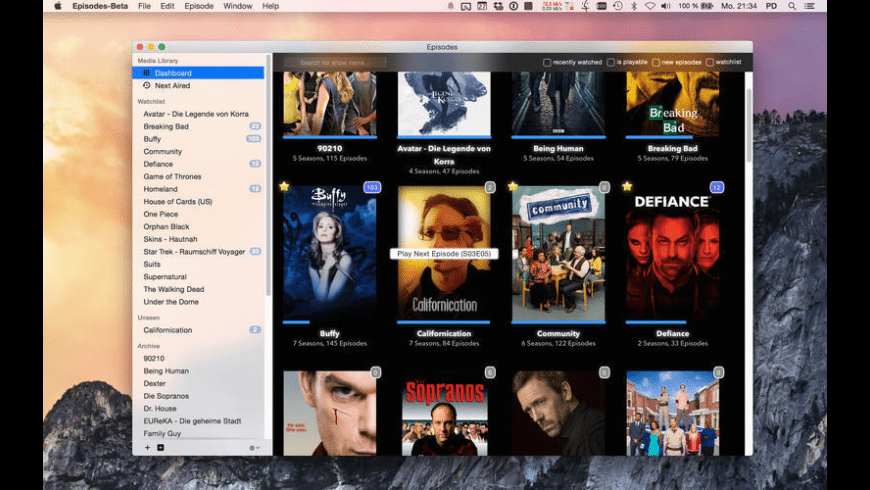 Episodes for Mac - review, screenshots