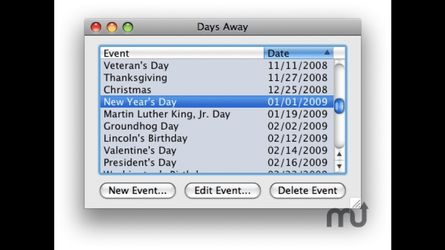 Days Away for Mac - review, screenshots