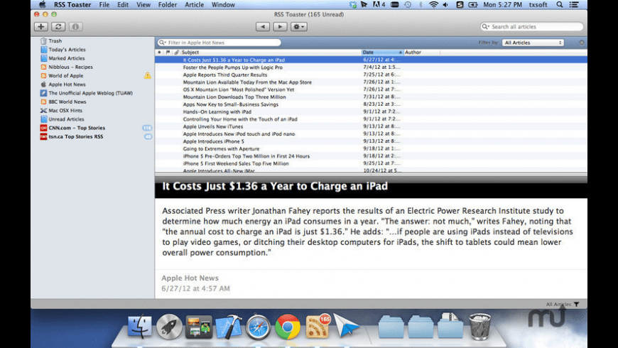 RSS Toaster for Mac - review, screenshots