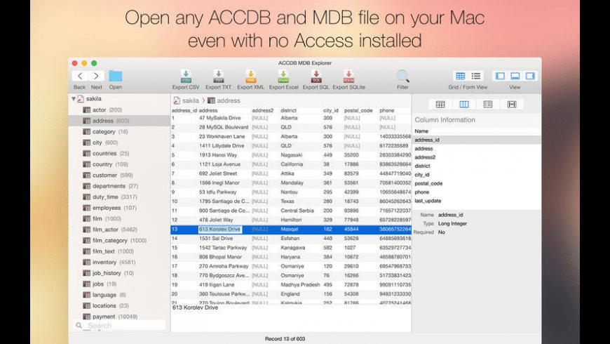 ACCDB MDB Explorer for Mac - review, screenshots