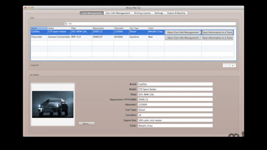 About My Car for Mac - review, screenshots