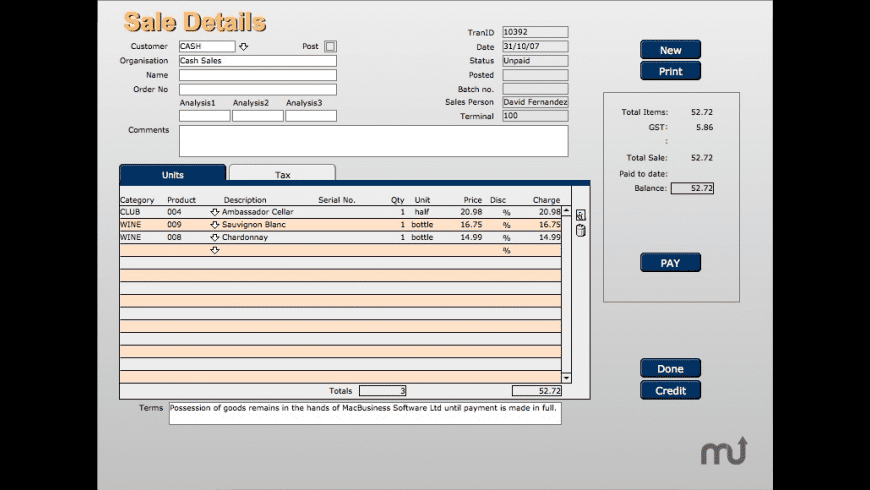 MacBusiness POS for Mac - review, screenshots