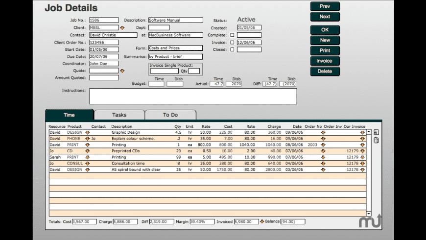 MacBusiness Job Tracking for Mac - review, screenshots