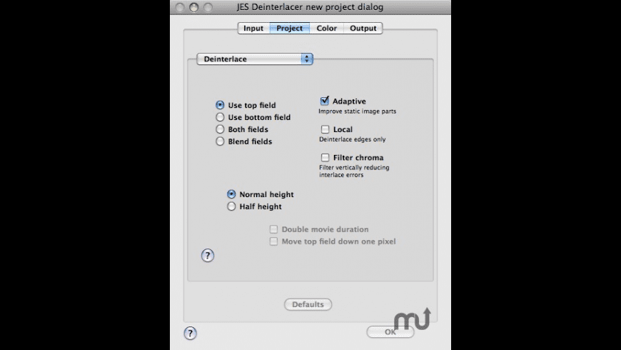 JES Deinterlacer for Mac - review, screenshots