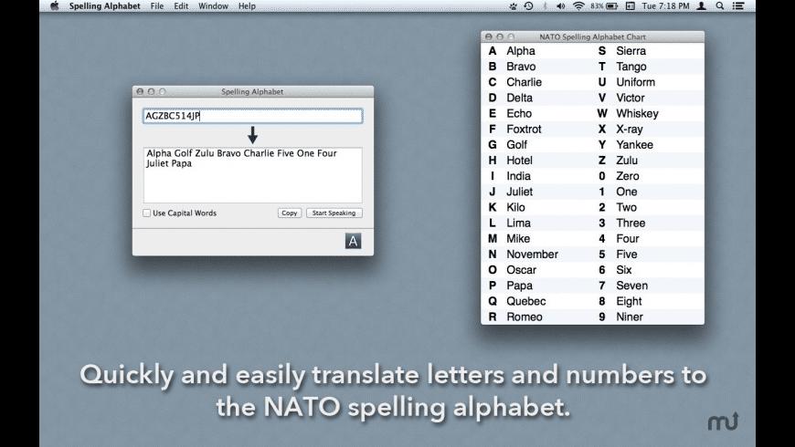 Spelling Alphabet for Mac - review, screenshots