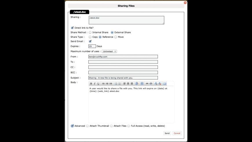 CrushFTP Enterprise for Mac - review, screenshots