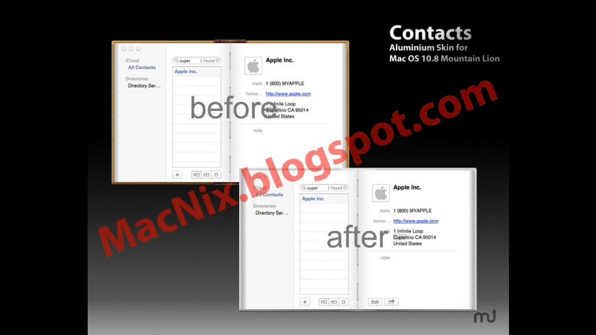Aluminum Skin for Contacts for Mac - review, screenshots