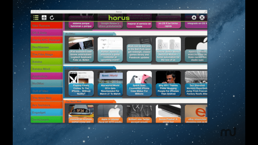 Horus News Reader for Mac - review, screenshots