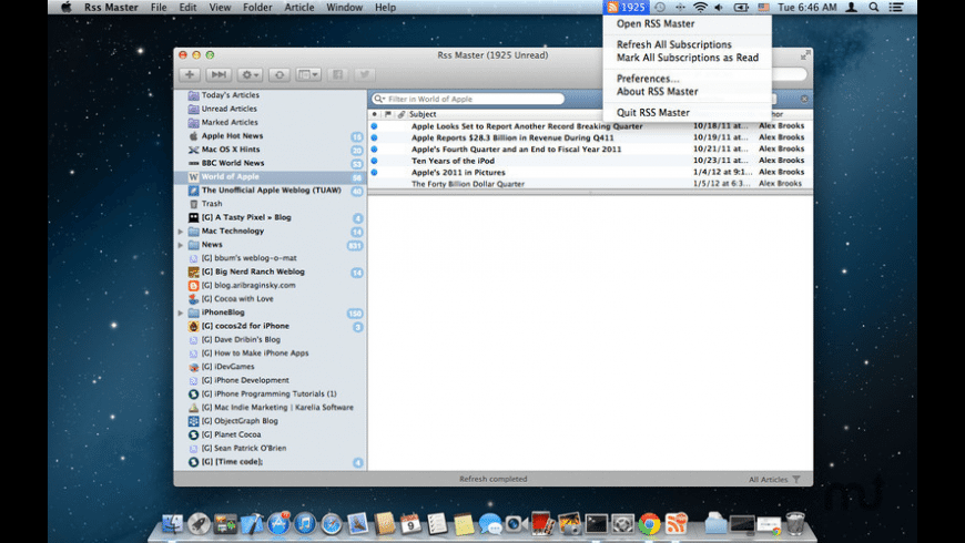 RSS Master for Mac - review, screenshots
