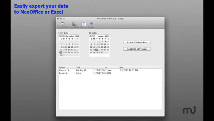 NeoOffice TimeCard for Mac - review, screenshots