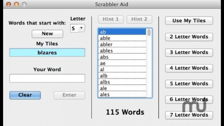 Scrabbler Aid for Mac - review, screenshots