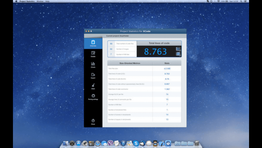 Project Statistics for Xcode for Mac - review, screenshots