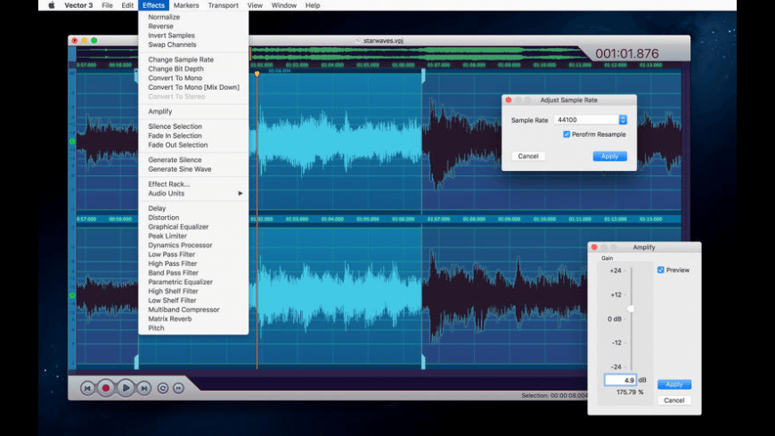 Vector 3 Express: Audio Editor for Mac - review, screenshots