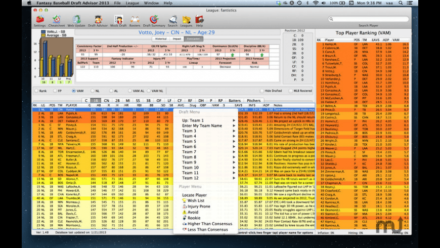 Fantasy Baseball Draft Advisor for Mac - review, screenshots