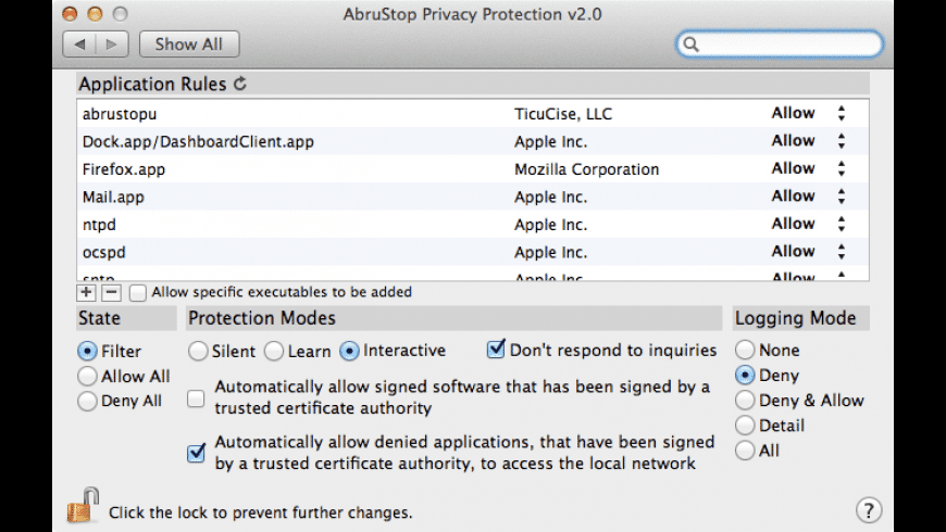 AbruStop Privacy Protection for Mac - review, screenshots