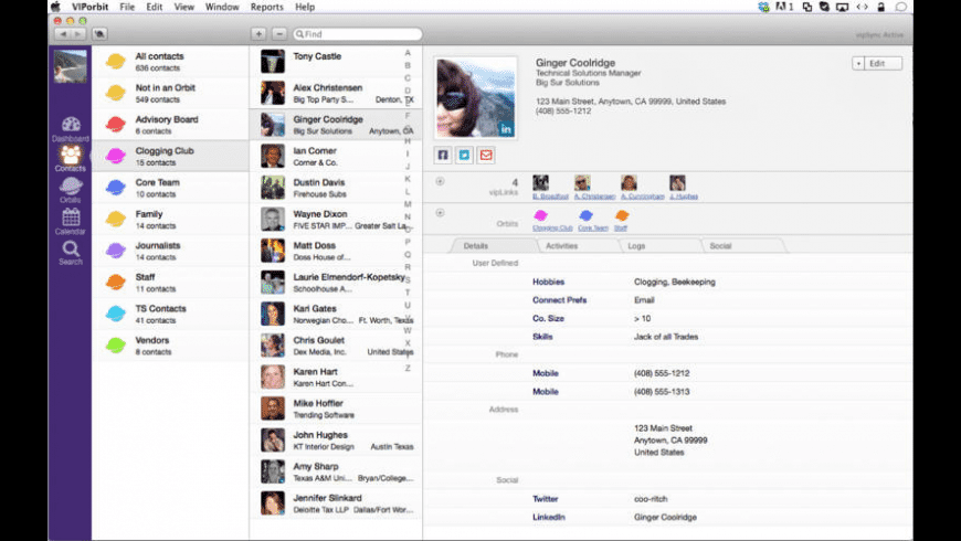 VIPorbit Contact Manager for Mac - review, screenshots