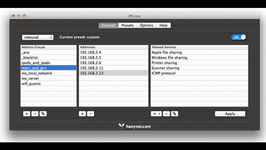 PFLists for Mac - review, screenshots