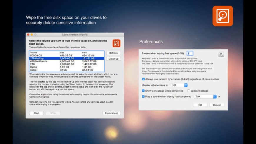 WipeFS for Mac - review, screenshots