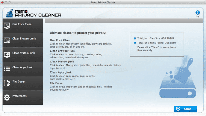 Remo Privacy Cleaner for Mac - review, screenshots