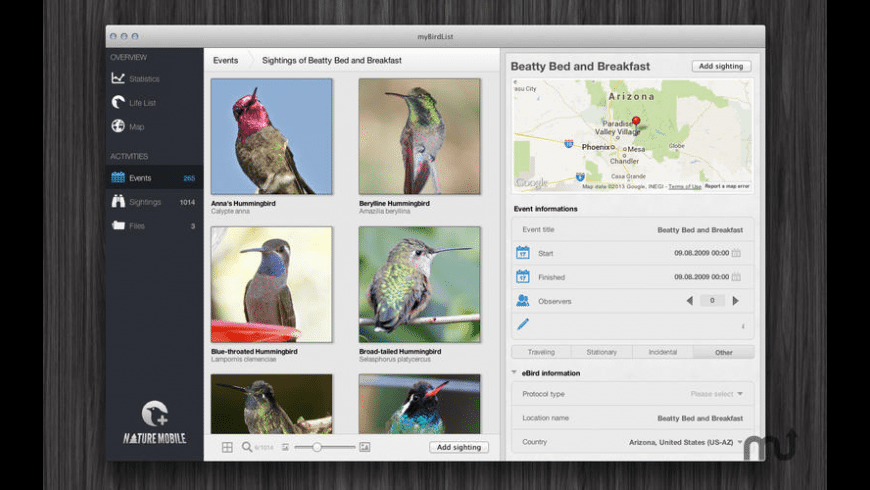 myBirdList for Mac - review, screenshots