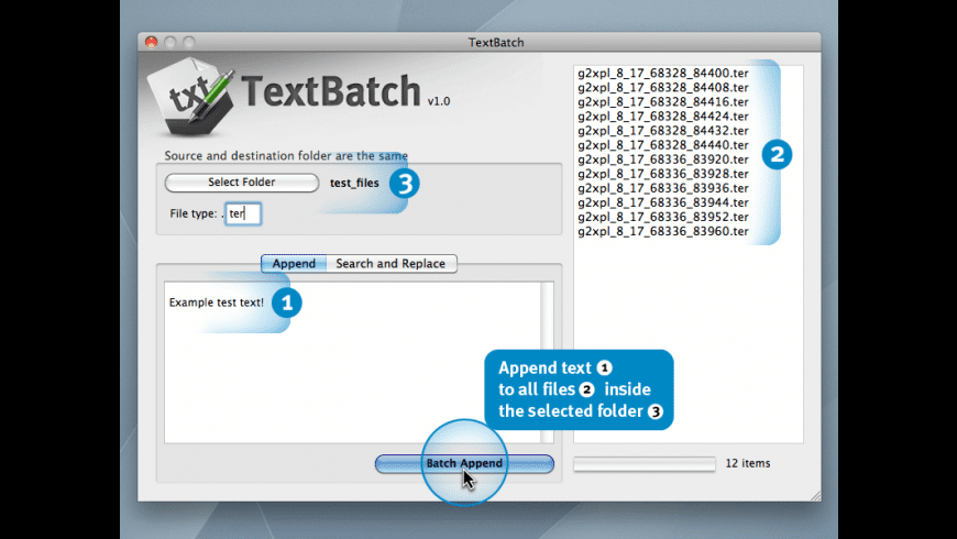 TextBatch for Mac - review, screenshots