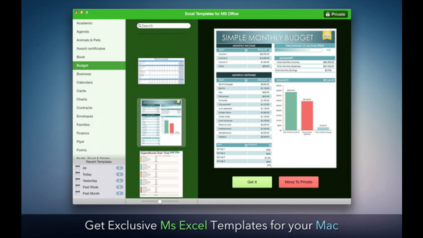 Templates for Microsoft Excel for Mac - review, screenshots