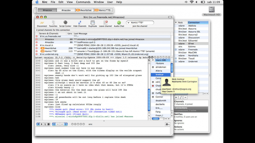 Xirc for Mac - review, screenshots