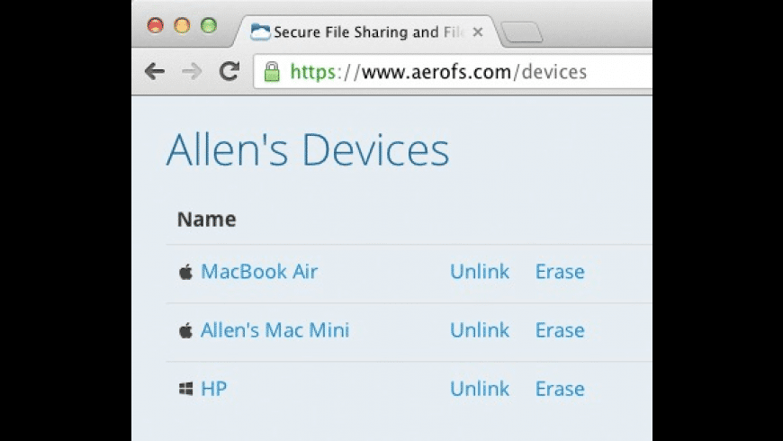 AeroFS for Mac - review, screenshots