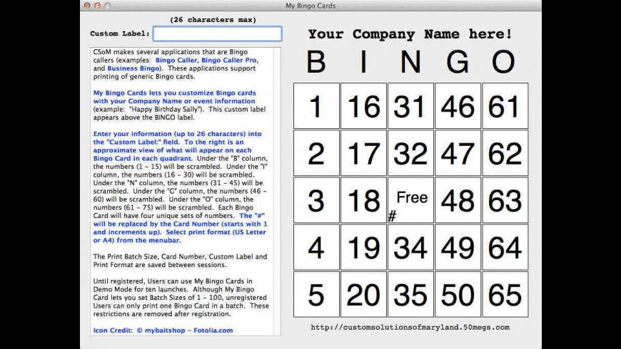 My Bingo Cards for Mac - review, screenshots