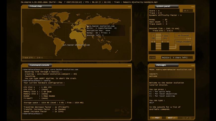 Hacker Evolution for Mac - review, screenshots