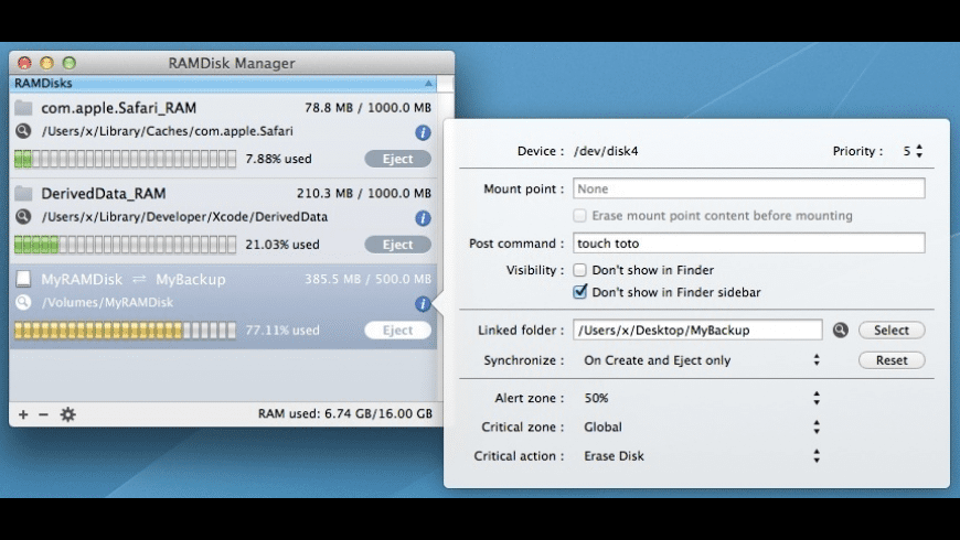 RAMDisk Manager for Mac - review, screenshots