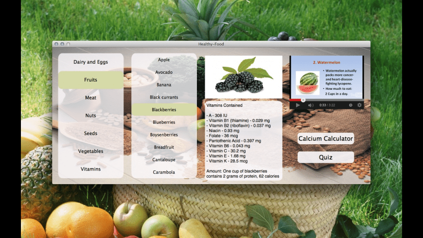 Healthy Food for Mac - review, screenshots