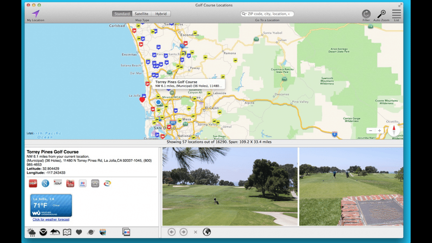 Golf Course Locations for Mac - review, screenshots