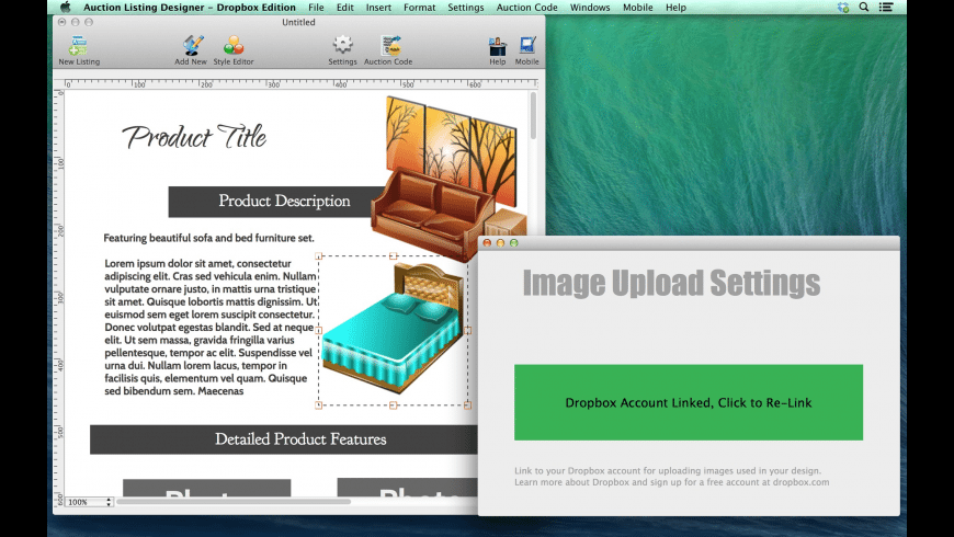 Auction Listing Designer - Dropbox Edition for Mac - review, screenshots