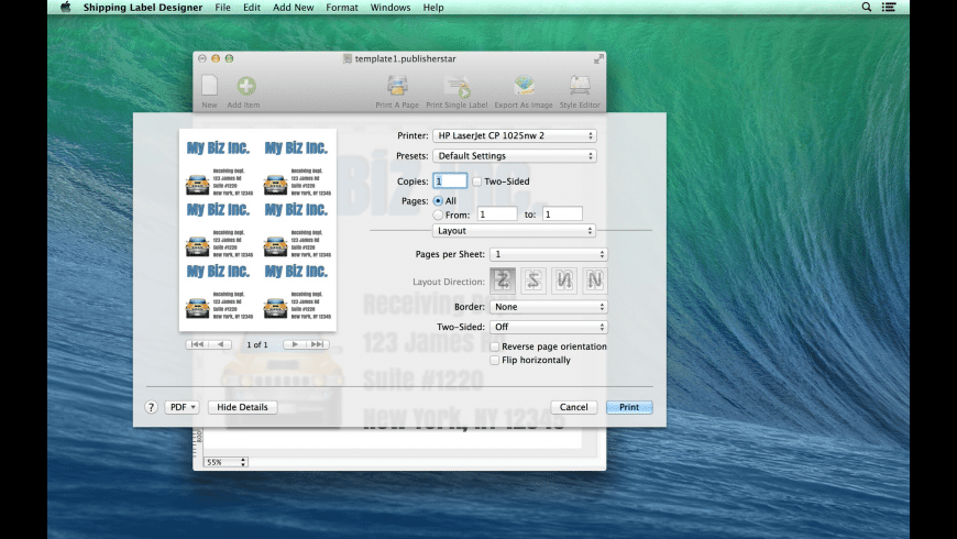 Shipping Label Designer for Mac - review, screenshots