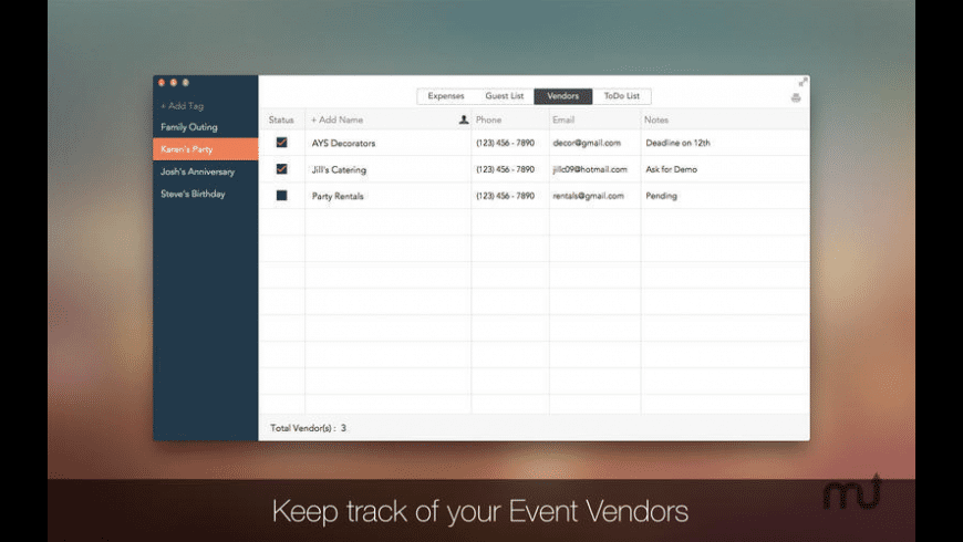 Event Planner for Mac - review, screenshots