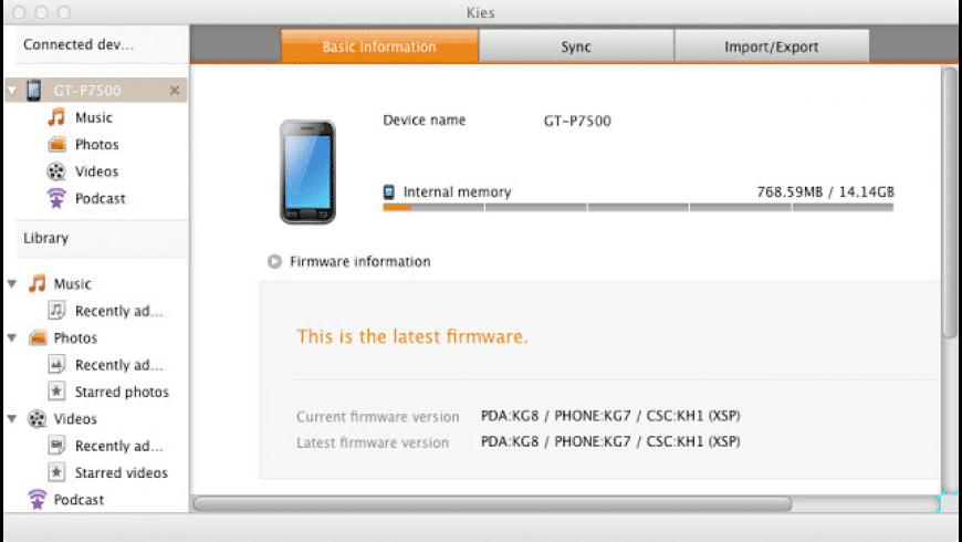 Samsung Kies for Mac - review, screenshots