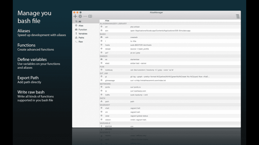 AliasManager for Mac - review, screenshots