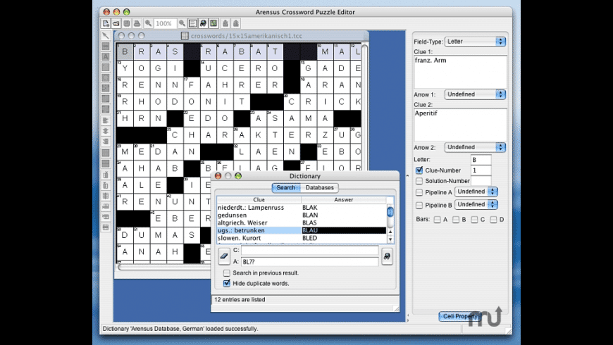 Arensus Crossword Puzzle Editor for Mac - review, screenshots