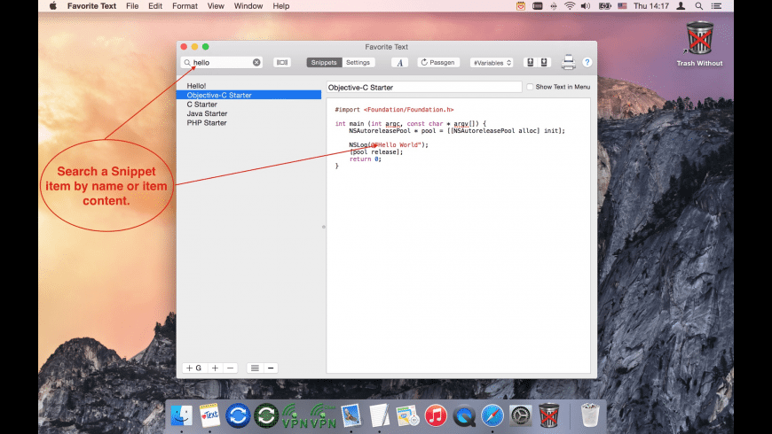 Favorite Text for Mac - review, screenshots