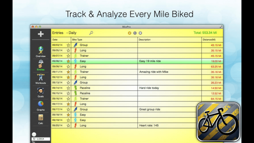 BikePro for Mac - review, screenshots