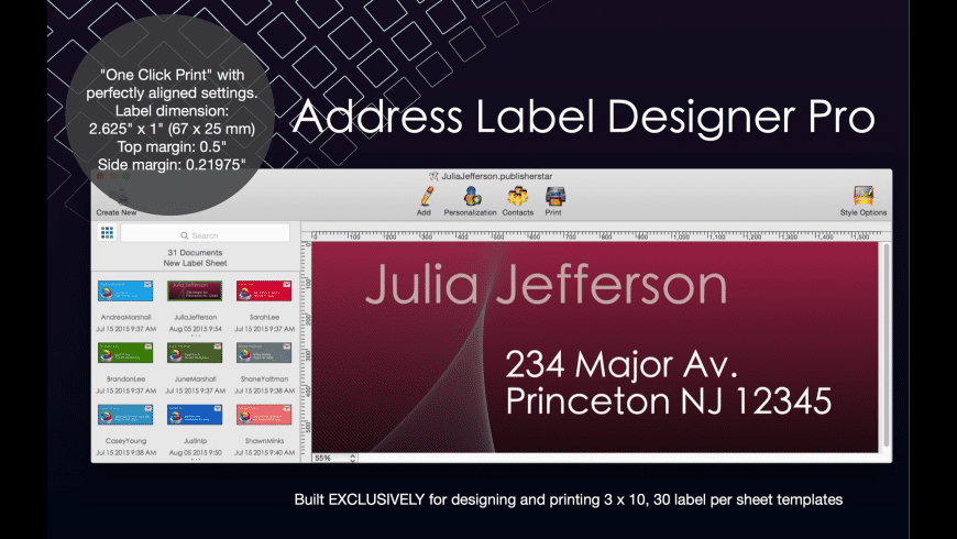 Address Label Designer Pro for Mac - review, screenshots