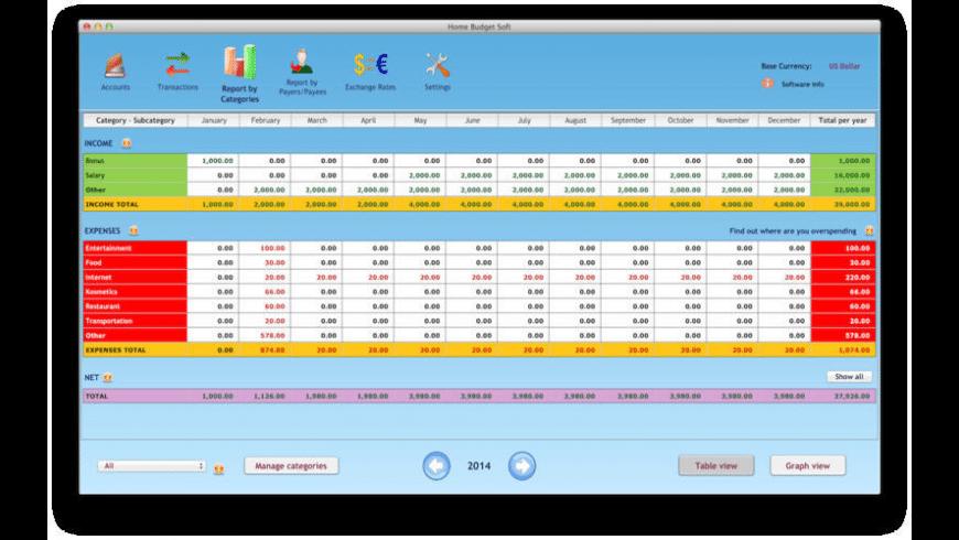 Home Budget Soft for Mac - review, screenshots