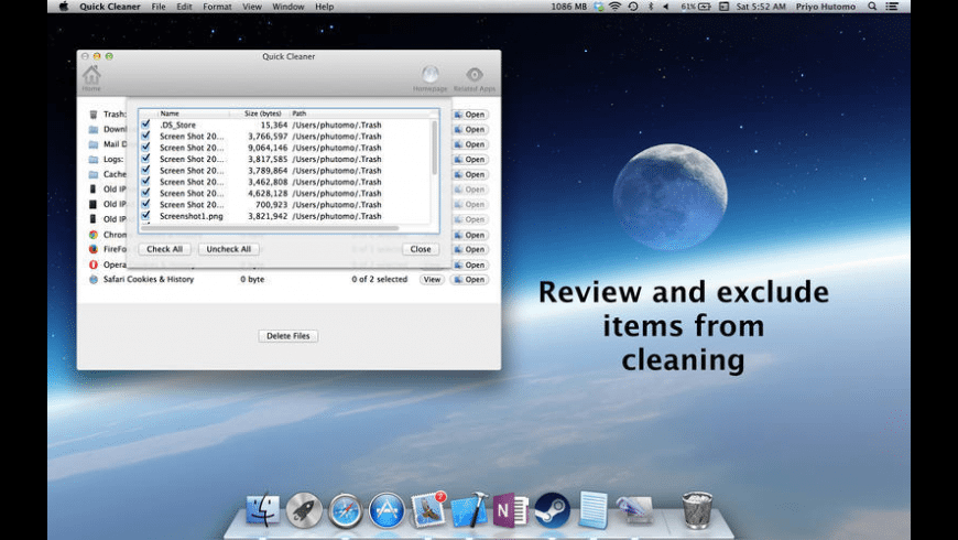 Quick Cleaner for Mac - review, screenshots