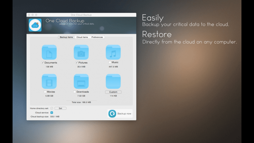 One Cloud Backup for Mac - review, screenshots