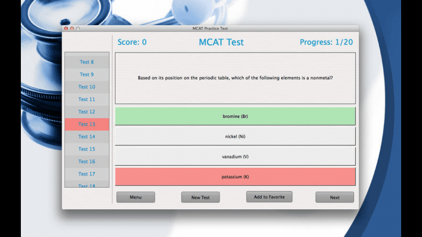 MCAT Practice Test for Mac - review, screenshots