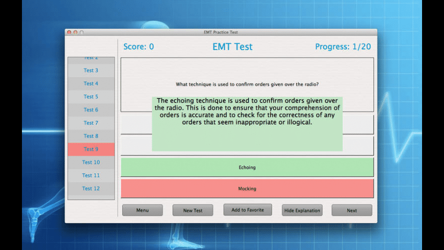 EMT Practice Test for Mac - review, screenshots