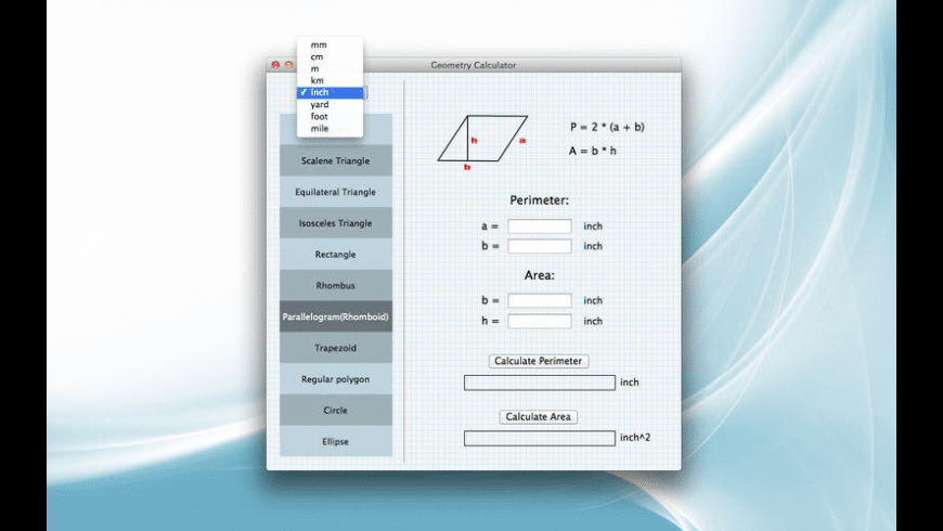 Geometry Calculator for Mac - review, screenshots