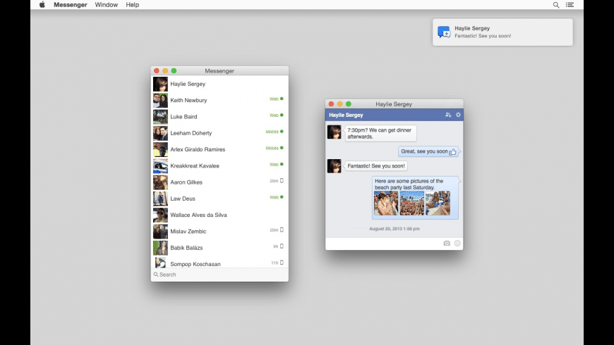 Messenger for Facebook! for Mac - review, screenshots